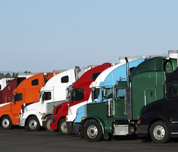 fleet of semitrucks