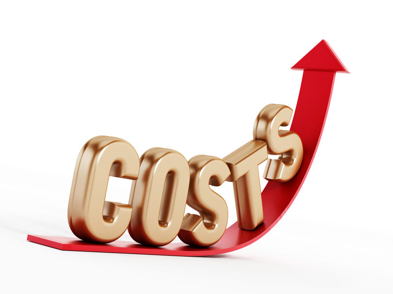 Rising costs text on a red increasing arrow